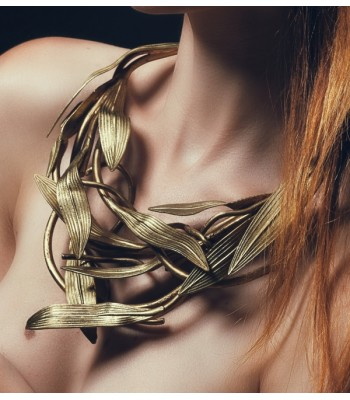 Collier gorgerin de haute fantaisie, création artisanale par Martine Brun