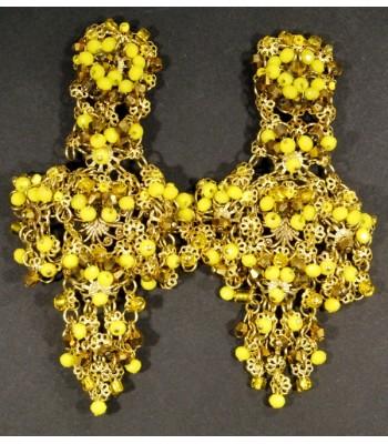 Boucles d'oreilles dorées avec perles jaunes par Martine Brun
