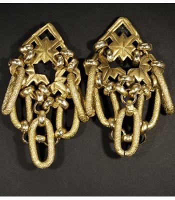 Boucles d'oreilles fantaisie uniques dorées par Martine Brun