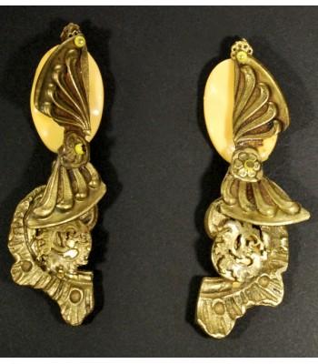 Boucles d'oreilles fantaisie unique, dorées avec perle jaune