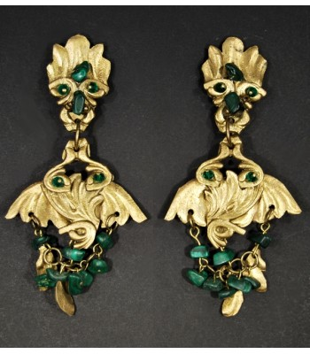 Boucles d'oreilles fantaisie unique dorées avec pierres en Malachite vertes