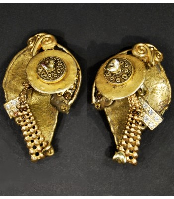 Boucles d'oreilles dorées fantaisie uniques en bronze et laiton par Martine Brun