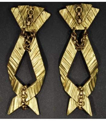 Boucles d'oreilles dorées fantaisie en bronze par Martine Brun