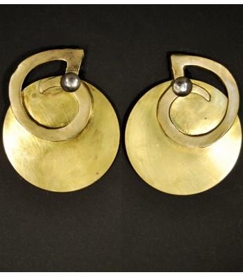 Boucles d'oreilles rondes dorées en laiton et bronze