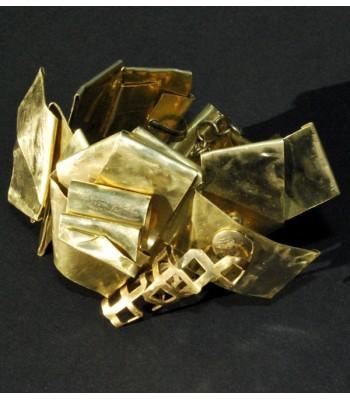 Bracelet de haute fantaisie doré réalisé par Martine Brun