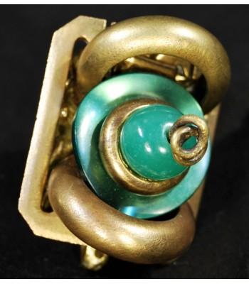 Bague dorée en bronze au style contemporain créée par Martine Brun