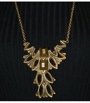 Collier sautoir doré fantaisie, création unique Martine Brun